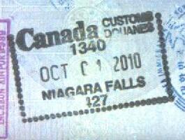 Sello de ingreso a Canadá en las Cataratas del Niágara (Cortesía: Gato Cósmico)