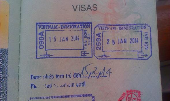 Sellos de Inmigración y Emigración - Vietnam (Cortesía: José Carlos Contreras)