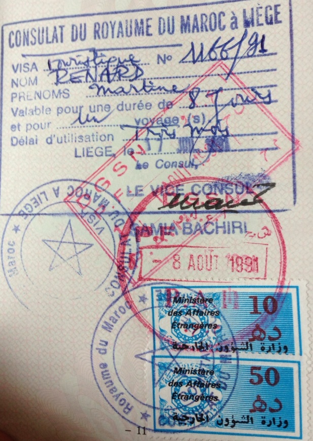 Visa y Sellos de Inmigración y Emigración de Marruecos (Cortesía: Pierre Thirion)