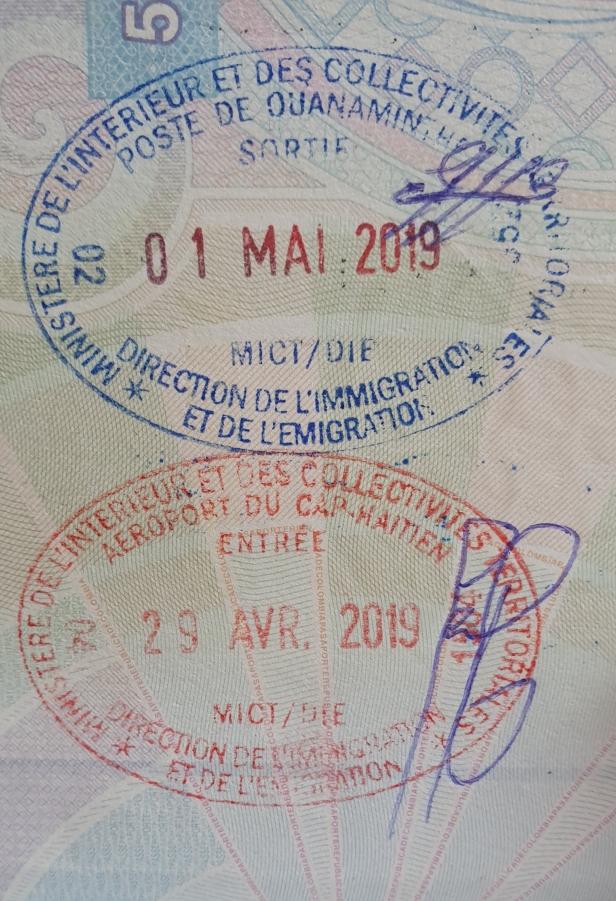 Sello entrada Cabo Haitiano, aeropuerto