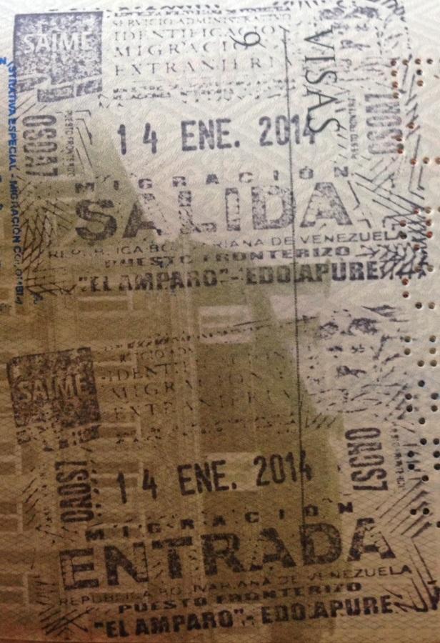 Sellos de Inmigración y Emigración del puesto fronterizo de El Amparo, Estado Apure, Venezuela (Cortesía: Pierre Thirion)