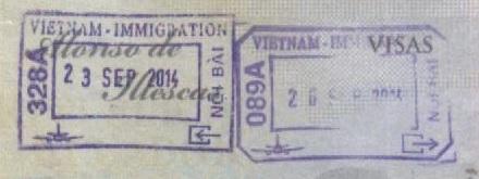 Sellos de inmigración y emigración - Vietnam (Cortesía: Gato Cósmico)