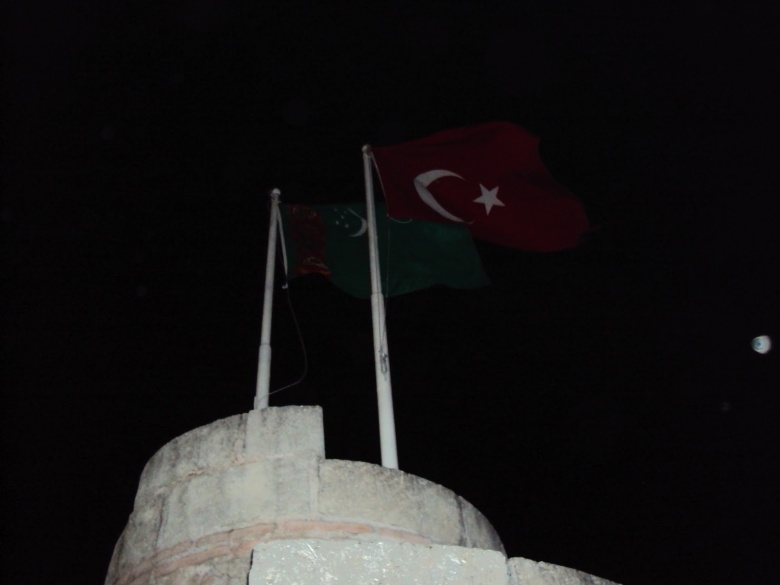 Banderas de Turkmenistán y Turquía - Estambul, Turquía