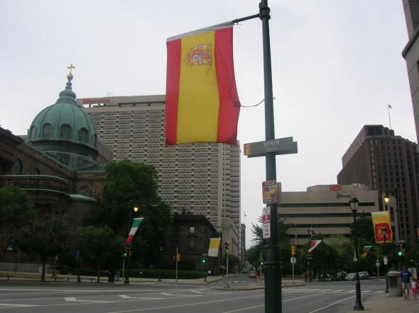 Bandera de España en Filadelfia, ESTADOS UNIDOS
