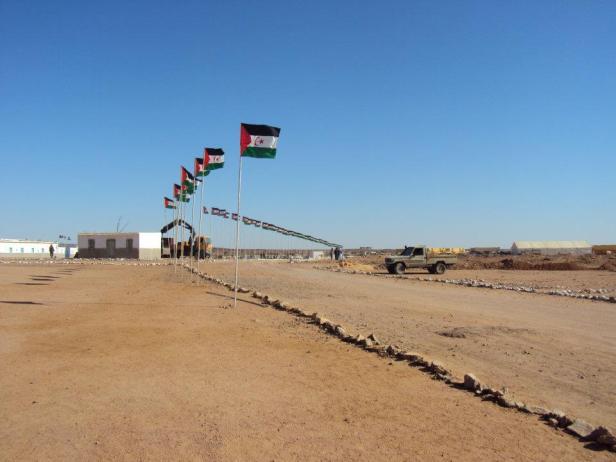 Banderas de la RASD en la calle principal de Tifariti