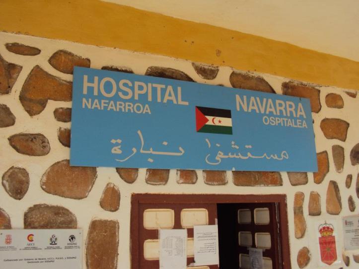 Entrada al hospital Navarra (donado por esa comunidad española al pueblo del Sahara Occidental)