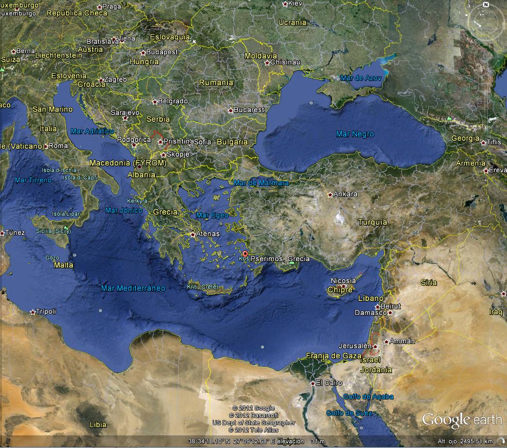Banderas desde el aire imgenes de banderas nacionales en google mapa de grecia en google earth con la isla pserimos marcada con el punto rojo noten la ubicacin frente a turqua gumiabroncs Gallery