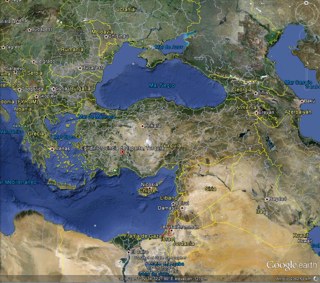 Banderas desde el aire imgenes de banderas nacionales en google mapa de turqua en google earth a una altura de 2342 kilmetros gumiabroncs Gallery