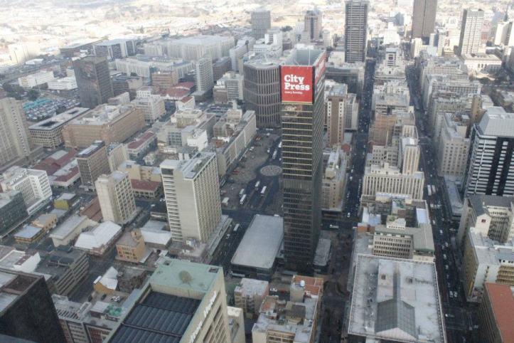 Panorámica de la Plaza Gandhi en el Centro de Johannesburgo