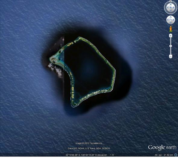 Vista satelital desde Google Earth del Atolón de Fangataufa en la Polinesia Francesa