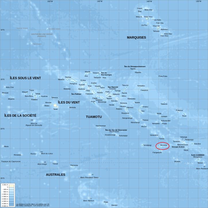 Ubicación del Atolón de Mururoa en la Polinesia Francesa (Fuente)