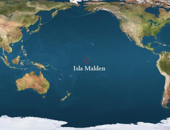 Ubicación de la Isla Malden en el Océano Pacífico (Fuente)