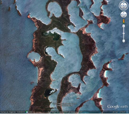 Vista de Google Earth de la laguna interior en las Islas Montebello donde se llevó a cabo la Operación Huracán