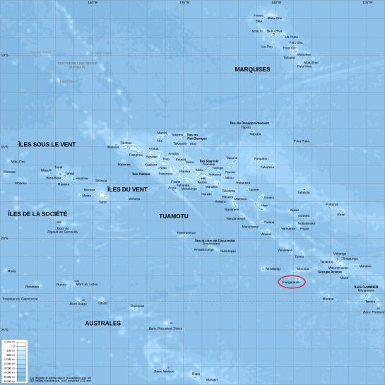 Ubicación del Atolón de Fangataufa en el extremo sur de la Polinesia Francesa (Fuente)