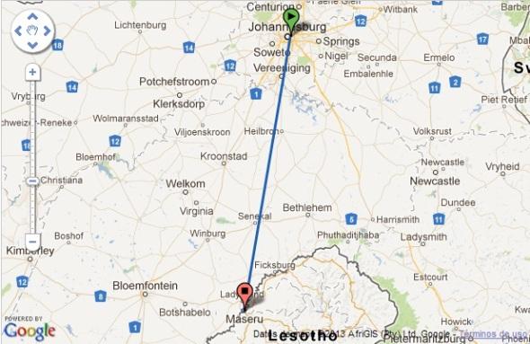 Ruta del vuelo entre Johannesburgo y Maseru (Fuente Google)