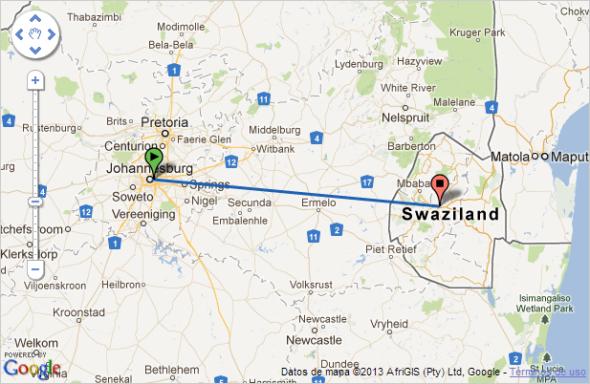 Ruta de vuelo entre Johannesburgo y Manzini (Fuente: Google Maps)