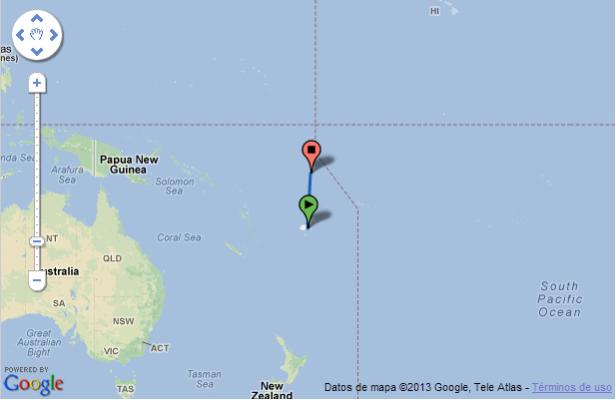 Ruta aérea entre Suva (Fiji) y Funafuti (Tuvalu) (Fuente: Google Maps)