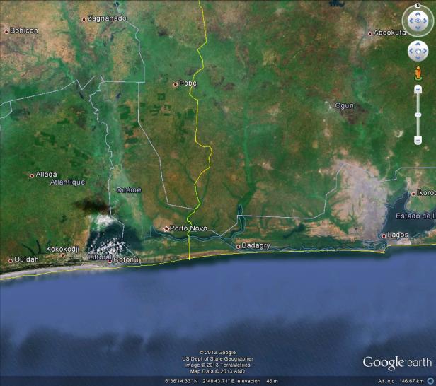 Ubicación de Porto Novo con relación a Cotonou (Benín) y Lagos (Nigeria) (Fuente: Google Earth)