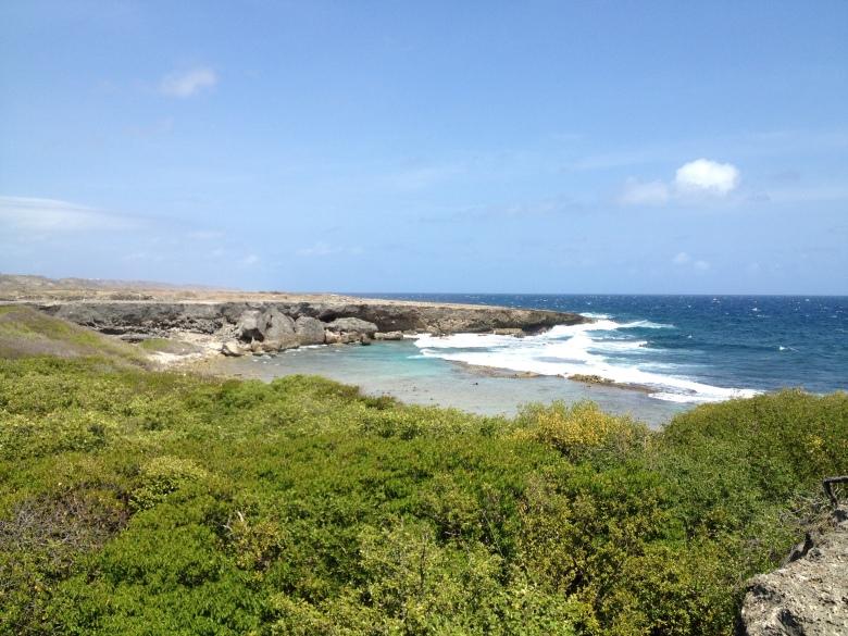 Acantilado en la costa del Parque Nacional Christoffel en Curaçao