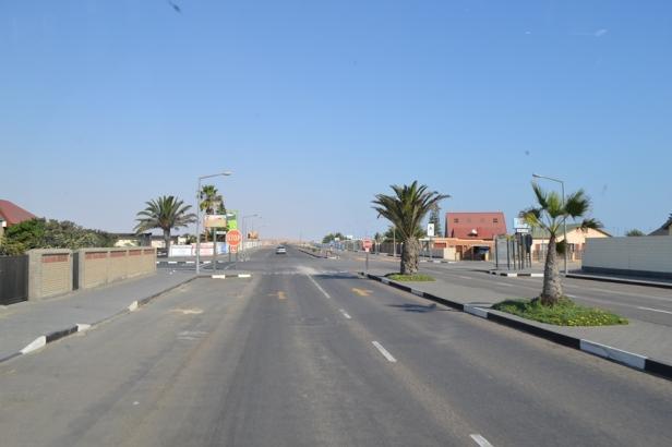 Palmeras en la entrada a Swakopmund