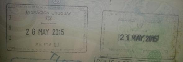 Sellos de ingreso y salida de Uruguay en Colonia del Sacramento (Cortesía: Mónica Jiménez)
