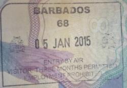 Sello de ingreso a Barbados (Cortesía: Javier Sevil)