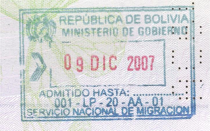 Bolivia entrada verde