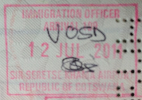 Inmigración: Aeropuerto Internacional Sir Seretse Khama de Gaborone, Botswana