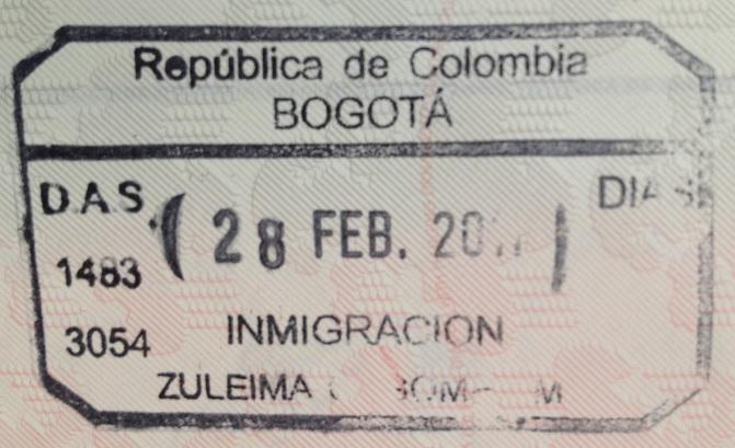 Inmigración: Aeropuerto Internacional El Dorado de Bogotá, Colombia