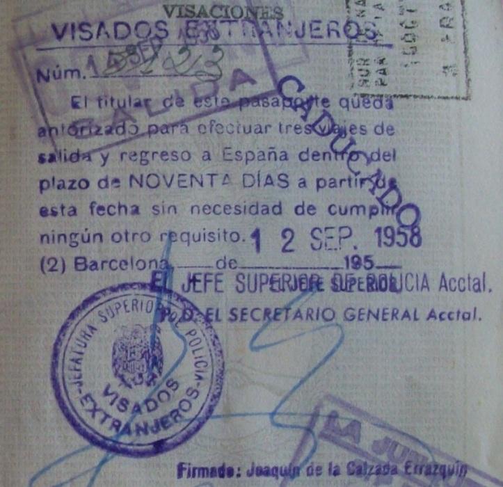Y ésta es toda una reliquia. Visa de salida de España del año 1958 (Cortesía: Patricio Nogueira)