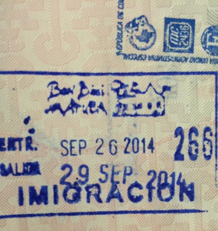 Sello de ingreso a Aruba (Cortesía de: Camilo Molina)