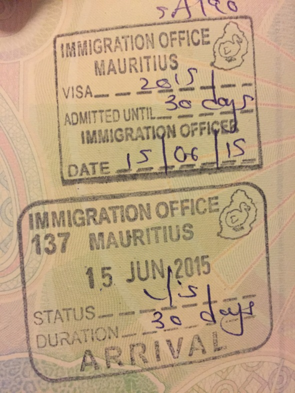 Visa y sello de entrada a Mauricio