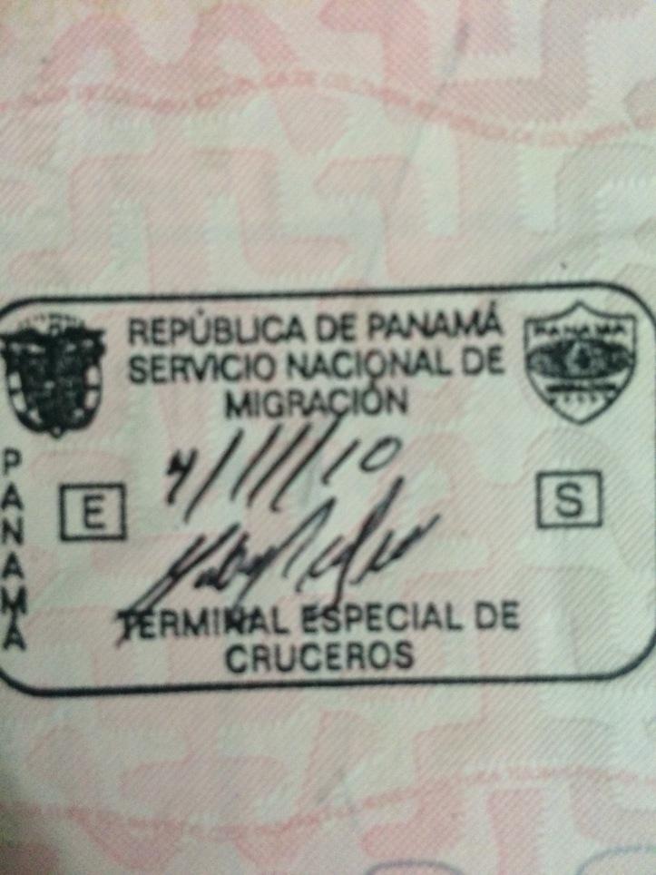 Sello de ingreso especial por la terminal de cruceros de Panamá (Cortesía: Camilo Molina)