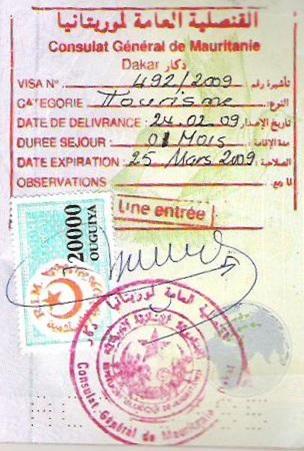 Visa de entrada a Mauritania (Cortesía: Juan Carlos Herrera)