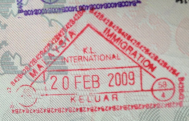 Emigración: Aeropuerto Internacional de Kuala Lumpur, Malasia