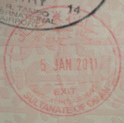 Emigración: Aeropuerto Internacional de Mascate, Omán