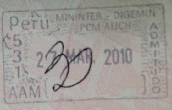 Inmigración: Aeropuerto Internacional Jorge Chávez de Lima, Perú