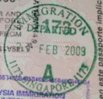 Emigración: Aeropuerto Internacional de Changi en Singapur, Singapur