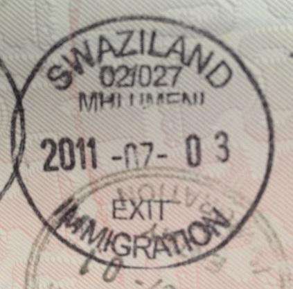 Emigración: Puesto fronterizo de Mhlumeni, Swazilandia
