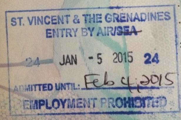 Sello de entrada a San Vicente y las Granadinas (Cortesía: Javier Sevil)