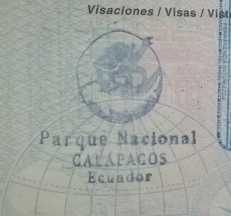 Sello de Ingreso a Galápagos, Ecuador (Cortesía: Anabella Simón Guillaumin)