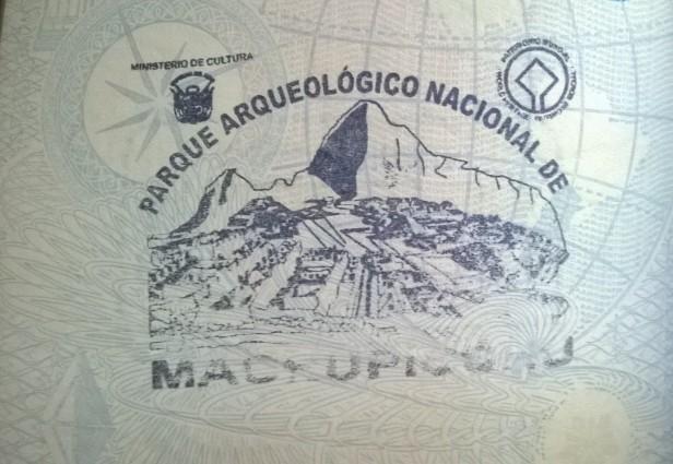 Sello de entrada a Machu Picchu (Cortesía: Anabella Simón Guillaumin)