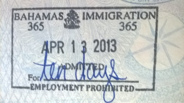 Sello de ingreso a Bahamas (Cortesía: Anabella Simón Guillaumin)
