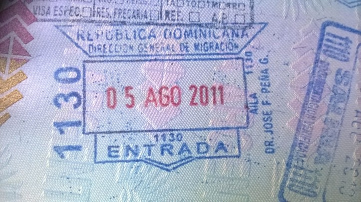 Sello de ingreso a República Dominicana (Por: Anabella Simón Guillaumin)