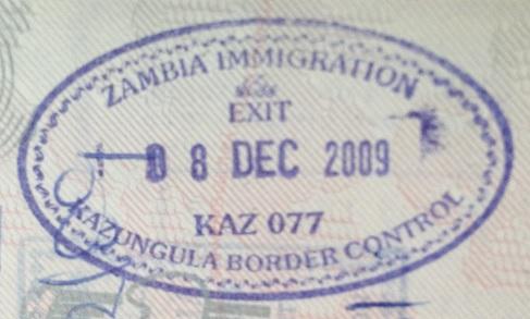 Emigración: Puesto fronterizo de Kazungula, Zambia