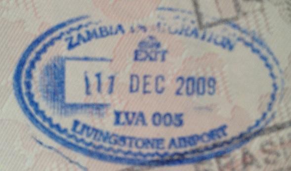 Emigración: Aeropuerto Internacional de Livingstone, Zambia