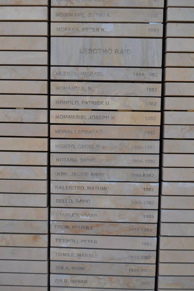 Muro de los nombres en el Freedom Park