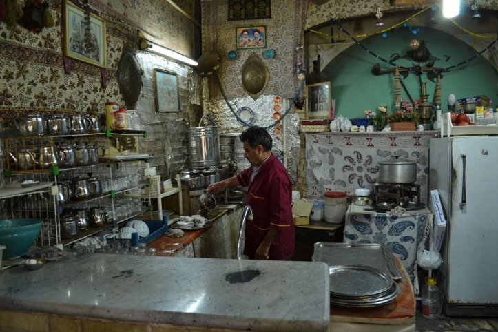 La cocina del café en Isfahán