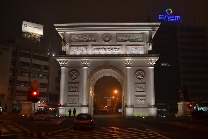 Puerta de Macedonia en Skopje
