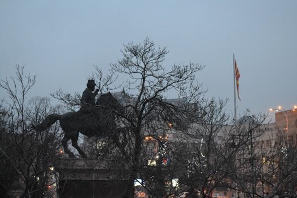 Monumento a Nikola Karev, uno de los más importantes revolucionarios durante la ocupación otomana a Macedonia